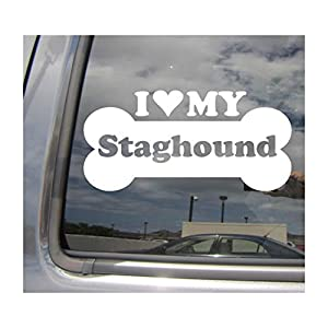 I Heart Love My Staghound - Dog Bone Shag American Mix Hybrid Purebred Cars Trucks Moped Helmet Hard Hat Surfboard Auto Automotive Craft Laptop Vinyl Decal Store Window Wall Sticker 13061 12