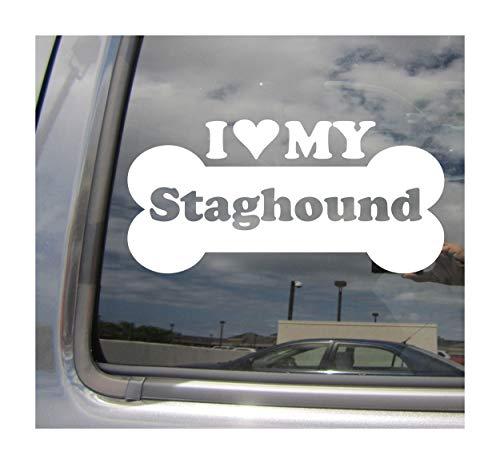 I Heart Love My Staghound - Dog Bone Shag American Mix Hybrid Purebred Cars Trucks Moped Helmet Hard Hat Surfboard Auto Automotive Craft Laptop Vinyl Decal Store Window Wall Sticker 13061 1