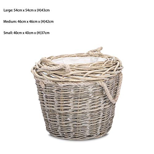 Round Rustic Fireside Chunky Wicker Log Basket Potato Basket with Rope Handles (Medium)