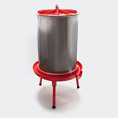 Wiltec Edelstahl Hydropresse mit 20 Liter Korbinhalt, Wasserdruckpresse mit 3 bar zum Pressen von Obst