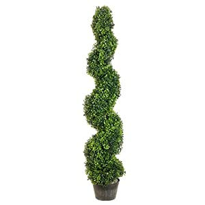 One 4 Foot 2 Inch Artificial Boxwood Spiral Topiary Tree Potted Indoor Outdoor UV Rated. Free Returns!