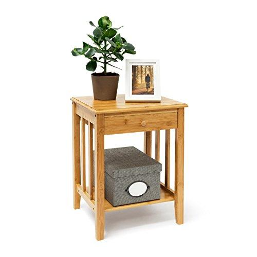 Relaxdays Bambus Beistelltisch mit Schublade H x B x T: ca. 51,5 x 40,5 x 30,5 cm Nachttisch aus robustem Holtz als schmale Nachtkonsole mit Schubfach als kleiner Tisch mit 2 Ablageflächen, natur
