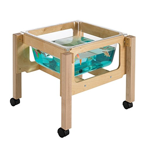 """Childcraft 1491071 Toddler Sand and Water Table with Tub, 21"""" Height, 23.25"""" Width, 23.25"""" Length, Natural Wood"""