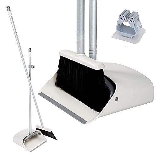 JEHONN Kehrset Besen und Kehrschaufel Set mit langem Stiel selbstschließender Schaufel Stehen Sie auf und lagern Sie es in der Küche Büro für die Wohnküche mit Besenhalter