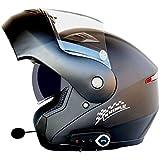 HengYue Casco Bluetooth per Moto Doppia Lente Frontale Antiriflesso Antiriflesso Casco Integrale Microfono con Cuffia Incorporato,A-L