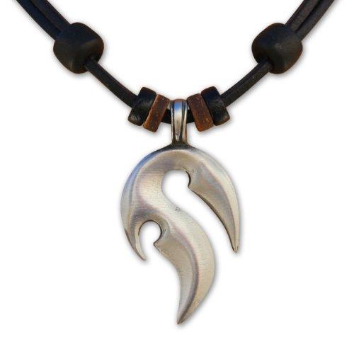 HANA LIMA ® Surferkette Lederkette Tribalkette Halskette Herren Damen Metallanhänger