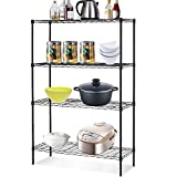 NSF Wire Shelving Unit 4-Tier Height Adjustable Steel Commercial Grade Storage Shelves 36'x14'x54' Large Heavy Duty Metal Shelves Organizer Rack with Leveling Feet for Kitchen Bathroom Office Garage