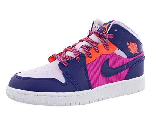 Jordan Air 1 Mid Girls Shoes Size 5.5, Color: Fire Pink/Regency Purple