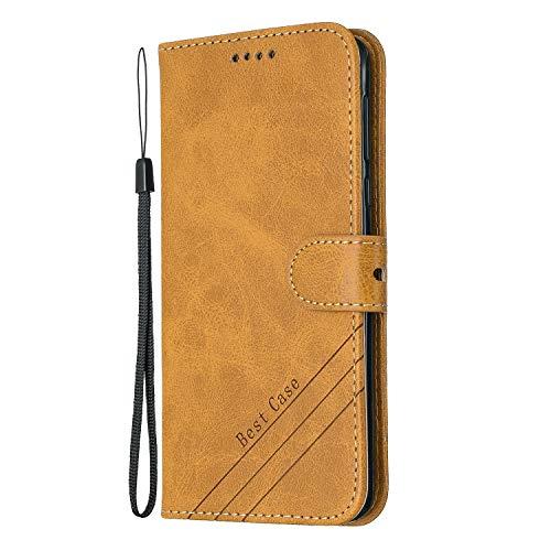 Tosim Moto G6Play/Moto E5 Hülle Klappbar Leder, Brieftasche Handyhülle Klapphülle mit Kartenhalter Stossfest Lederhülle für Motorola Moto G6 Play - TOHEX120453 Gelb