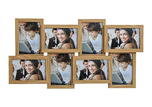 Home & Trends Bilderrahmen Fotorahmen für 8 x (10x15cm) Fotos aus Holz Braun (B/H/T) 58x30x2 cm Holz Collage für Deine Ganz Persönlich Bildergalerie - Bilder Rahmen in Eich
