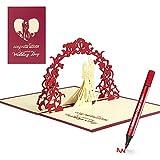 Tarjetas Regalo 3D de Parejas de Boda Invitación de Felicitación, Regalo de San Valentín Emergente para Aniversario Matrimonio, Postal con Sobre Carta para Cumpleaños, Navidad, HONGDDY