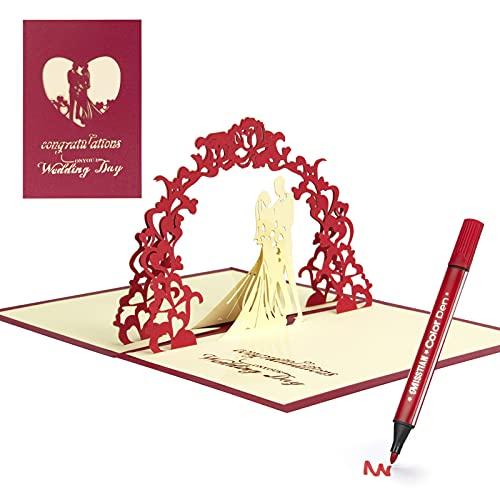 Tarjetas Regalo 3D de Parejas de Boda Invitación de Felicitación, Regalo de San Valentín Emergente para Aniversario...