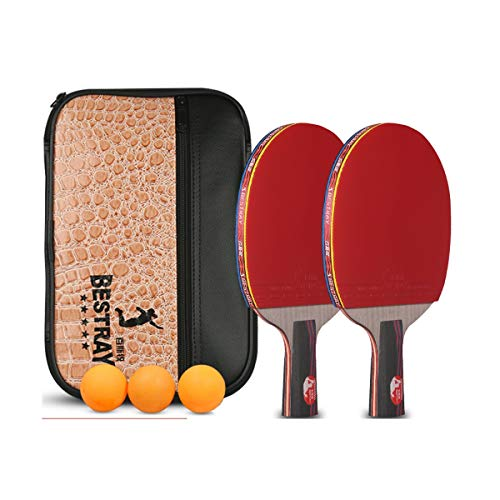 New HUIJUNWENTI Table Tennis Racket, Four-Star Table Tennis Racket, Double Shot, Pen-Hold, Horizonta...