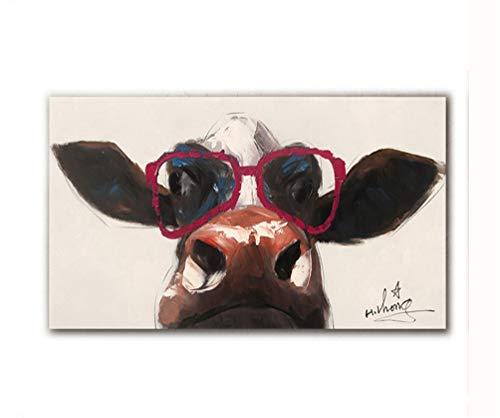 Dipinto Ad Olio Animali Dipinti A Mano Su Tela Astratto Cartone Animato Carino Bicchieri Mucche Bovine Decorazioni Arte Del Muro Dipinti Hang Pattern Animali Per Living Room Sofa 23X47'',BL