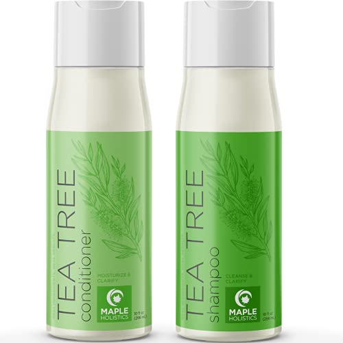Tea Tree Shampoo and Conditioner Set - Potent Clarifying Shampoo and Conditioner for Dry Damaged Hair Care with Tea Tree Oil for Hair - Pure Tea Tree Oil Deeply Cleanses and Invigorates 10 Fl Oz Each