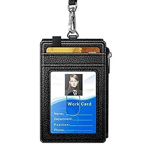 【令和最新版】定期入れ IDカードホルダー パスケース パス入れ IDカードケース ジッパーポケット ネームホルダー 財布 icカードケース カードケース リール付き クリップストラップ付き 革 レザー 二面 メンズ レディース 通勤 通学 カード、小銭、鍵などを収納 ブラック