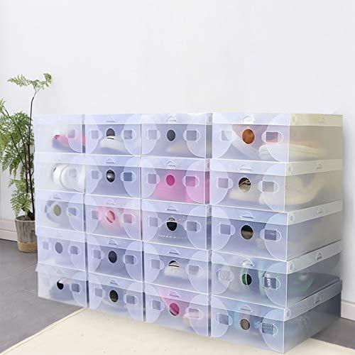 TFCFL Caja de almacenamiento de zapatos de plástico, 20 cajas transparentes para zapatos, caja de almacenamiento, juego de cajón, apilable