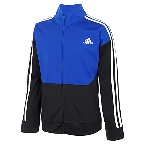 adidas Boys' Zip Front Uplift Tricot Jacket, Black with Bold Blue, S(8)