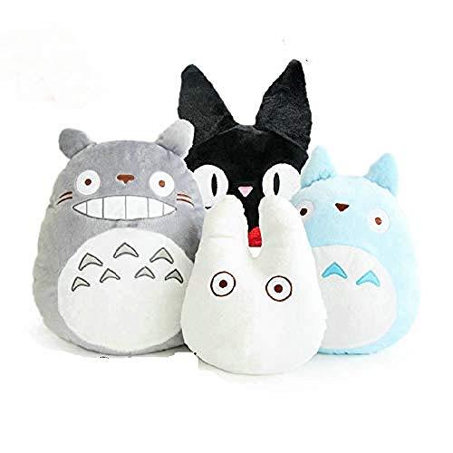 AGOOLZX Anime japonés Mi Vecino Totoro Almohada de Peluche Suave / Cojín Muñeca Blanca de Dibujos Animados / Servicio de Entrega de Kiki Juguete de Gato Negro para niños Azul