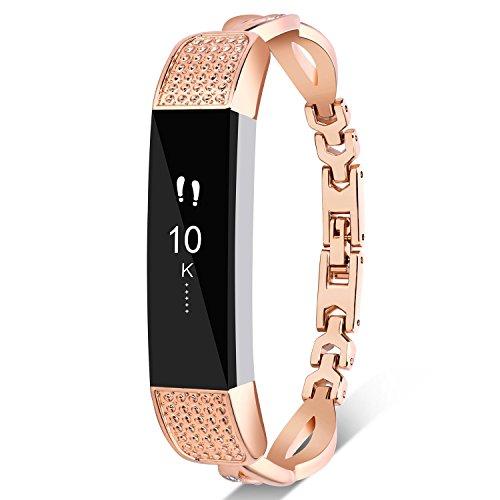 Nigaee Kompatibel mit Fitbit Alta HR Armband Metall Ersatzarmband für Fibit Alta HR Edelstahl Uhrenarmband Ersatzband Anti-Rost Beschichtung stabil und fest angeschlossen (Gold, Typ A Gold)