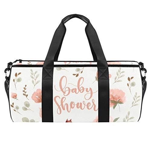 LAZEN Hombro Handy Sports Gym Bags Travel Duffle Totes Bag para hombres, mujeres, hermosas flores y zorros