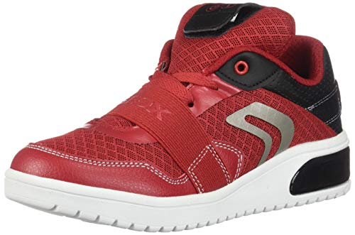 Geox XLED Boy J927QB Jungen High-Top Sneaker,Kinder LED Licht Text,Schnürung,Sportschuh,Mid Cut Sneaker,RED/Black,32