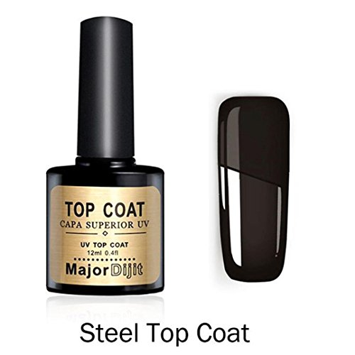 Vernis à ongles en acier Top Coat,Sensail Steel Top Coat Long-lasting Soak-off LED UV Gel Color Hot Nail Gel 12ML