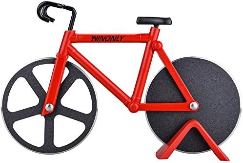 Bicycle Pizza Cutter Wheel Ninonly Non stick Dual Cutting Wheels Stainless Steel Bike Pizza product image