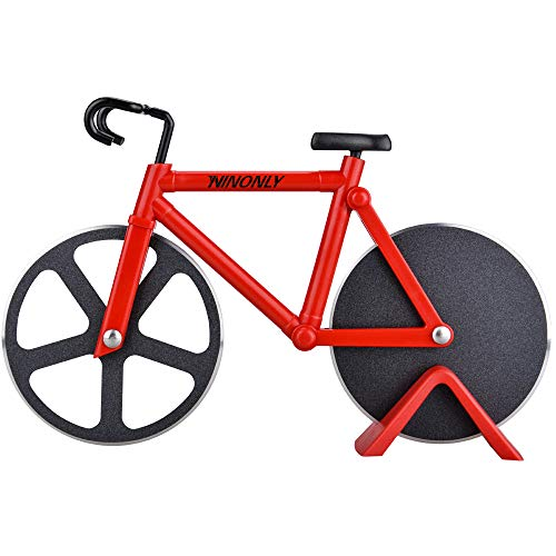 Bicycle Pizza Cutter Wheel,Ninonly Non-stick Dual Cutting Wheels Stainless Steel Bike Pizza Slicer with a Stand for Pizza Lovers,Holiday Vacation Housewarming Kitchen Gadget Cool Men's Gift