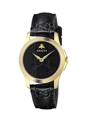Gucci Damen Datum klassisch Quarz Uhr mit Leder Armband YA126581