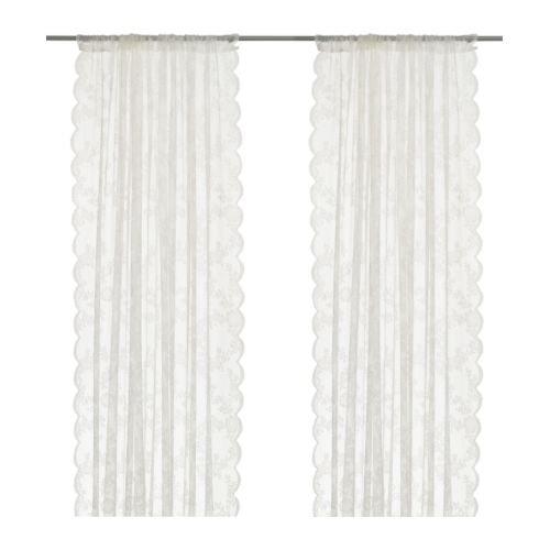 Ikea ALVINE SPETS -Gardinen 1 Paar Off-White - 145x300 cm