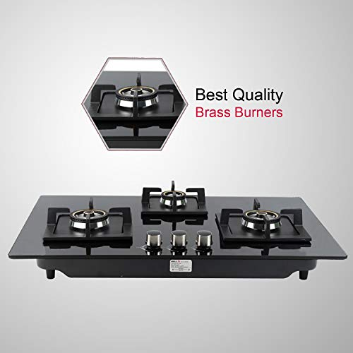 IBELL 490GH HOB 3 Burner Glass Top Gas Stove with Auto Ignition, Toughened Glass, Royal Black Design