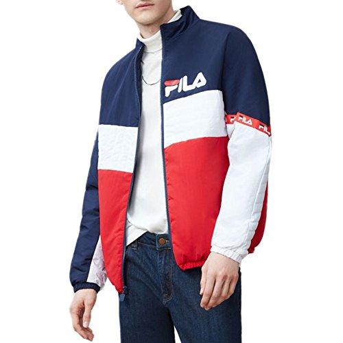 Fila Men's Jayden Jacket, Chinese Red, Navy, White, M