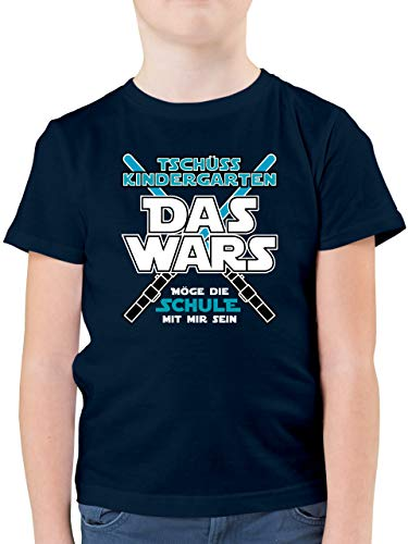 Einschulung und Schulanfang - Das Wars Kindergarten Blau - 128 (7/8 Jahre) - Dunkelblau - Kindergarten das Wars Tshirt - F130K - Kinder Tshirts und T-Shirt für Jungen