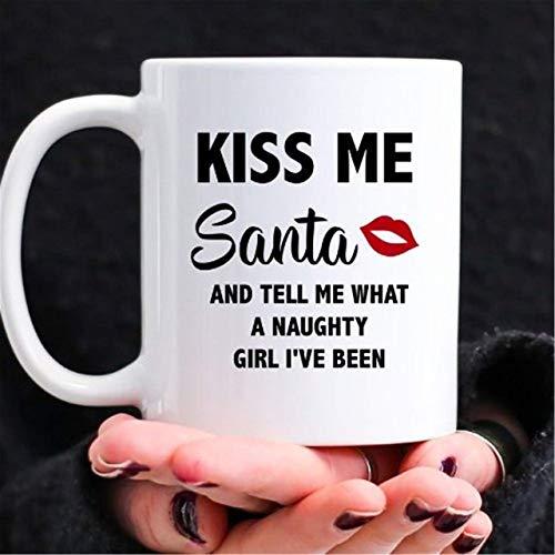 N\A Taza Regalo Divertido de Navidad para el Marido Dirty Santa Bésame y Dime lo Travieso Que no es Agradable Que he Sido un Novio Lindo