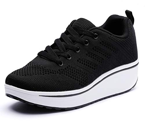 DADAWEN Women's Platform Wedge Tennis Walking Shoes Breathable Lightweight Casual Comfort Fashion Sneaker Black US Size 8.5