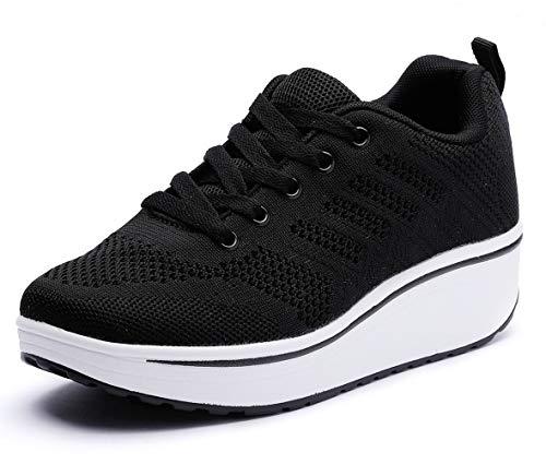 DADAWEN Women's Platform Wedge Tennis Walking Shoes Breathable Lightweight Casual Comfort Fashion Sneaker Black US Size 11