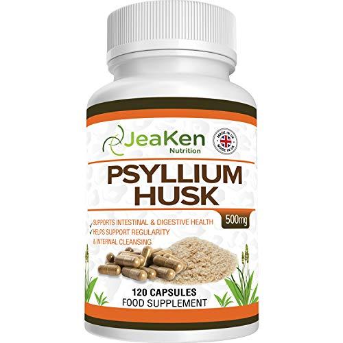 PSYLLIUM HUSK CÁPSULAS - Cáscaras de Psyllium Sin Gluten(Cascara de Psilio) - Laxante Natural y Laxante Estreñimiento - 120 Cápsulas de Psyllium en Polvo para Mantiene la Salud Gastrointestinal
