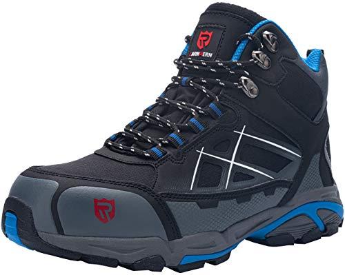 LARNMERN Sicherheitsschuhe Arbeitsschuhe Herren, Sicherheit Stahlkappe Stahlsohle Anti-Perforations Luftdurchlässige Schuhe (47 EU Schwarz Blau)