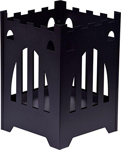 dobar 35436 Design Feuerkorb Burgfeuer mit herausnehmbarer Ascheschale, Metall-Feuerstelle, Schwarz, 38x38x55 cm