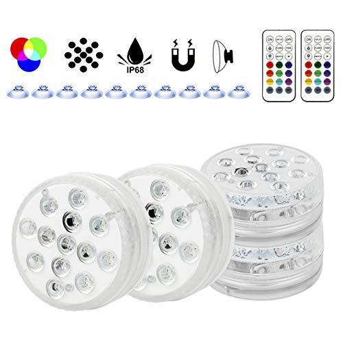 Wilktop Unterwasserleuchten, IP68 Wasserdichte LED-Leuchten 4 Farbwechselmodi und 16 Farbmodi LED-Tauchleuchten mit Fernbedienung für Schwimmbadleuchten, Aquarien, Teiche, Innenausstattung (4 Stück)