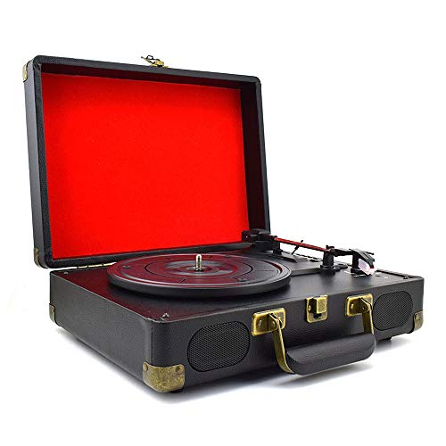 SCKL Vintage 33/45/78 Bluetooth draagbare koffer platenspeler vinyl-LP-platenspeler Aux-In Line-Out AC110~240V zwart