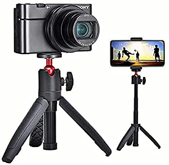Mini Selfie Stick Extendable Handheld Tripod 2 in 1,Compatible with Various Action Cameras and iPhone/Samsung/Google Smartphone Clamp for Selfie Travel Vlogging 1/4  Inch Screw Mount Ballhead Tripod