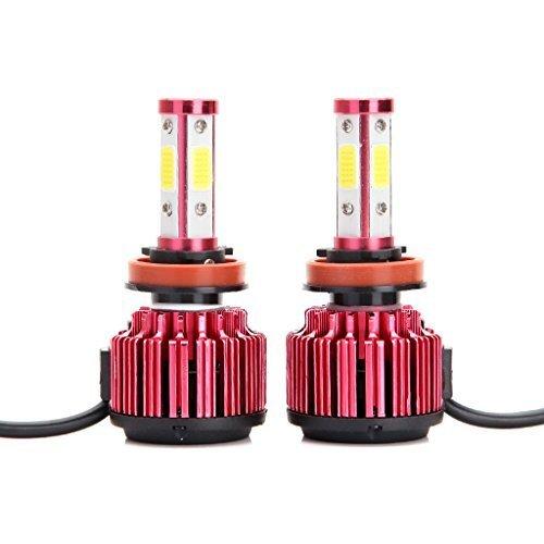 Gzcrdz H8 H9 H11 LED Ampoules de phare 8000lm 60 W Blanc Froid 6000 K faciles à faible Faisceau/haute Faisceau/ampoule de brouillard à 360 ° 4 Côté COB Chips Super Bright Auto Kit de conversion
