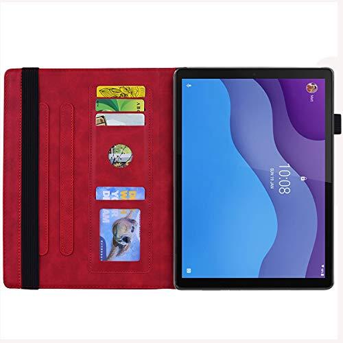 AsWant Lenovo Tab M10 HD 2. Generation Hülle PU Leder Brieftasche Schutzhülle Flip Stand Tablet Hülle für Lenovo Tab M10 HD 10,1 Zoll (Gen 2) TB-X306X/TB-X306F - Enbossed Mandala Flower Rot