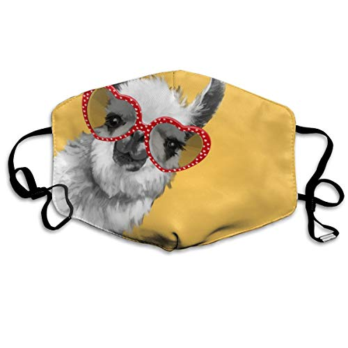Mundmaske für Damen und Herren, modisches Hipster-Llama mit Brille