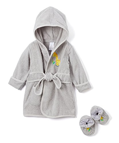 Spasilk 100% Cotton Hooded Terry Bathrobe with Booties—Baby Girl Gifts—Baby Boy Gifts—0-9 Months—Shower Gift