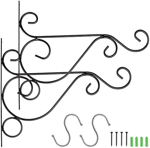 Sgualie2pcs Black Hanging Bracket Haken Heavy Duty Wandkorb Kleiderbügel mit 2pcs S-förmigen Haken für hängende Pflanzgefäße Blumentöpfe Laterne