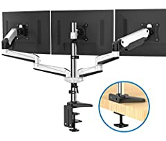 UNIVERSAL 3 MONITOR STAND - Fits three flat / curved computer monitors 17 18 19 20 21 22 23 24 25 26 27 28 29 30 31 32 inch in size with VESA Mounting holes 75x75 and 100x100, each arm hold 0-17.6lbs SUPER SPACE SAVER - Conveniently frees up more val...