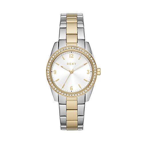 DKNY Women's Nolita Quartz Stainless Steel Three-Hand Watch, Color: Silver/Gold Glitz (Model: NY2903)